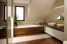 Łazienka w stylu SPA – piękne wnętrza z polskich domów  - zdjęcie numer 9 Loft Bathroom, Bathroom Windows, White Bathroom, Bathroom Interior, Small Bathroom, Wc Design, House Design, Attic Bedroom Designs, Cheap Bathrooms