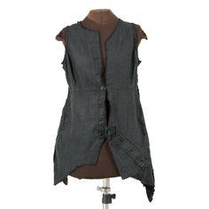 Payne, Deconstructed - black linen vest by Secret Lentil Clothing