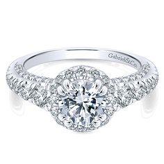 14k White Gold Diamond Halo #GabrielNY #engagementring #ER12669R4W44JJ