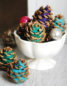 Yarn Pine Cones | Pine Cone Projects To DIY This Fall
