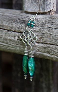 gabi111 / Smaragdová perleť v starostriebre - náušnice