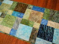 Quilted Batik Table Runner in Shades of Blue Green and Brown, Quilted Table Topper, Batik Table Mat, Quilted Tablecloth, Quiltsy Handmade by SusiQuilts on Etsy