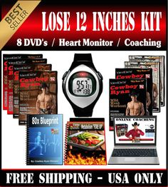 LOSE 12 inches KIT = 8 DVD's + Heart monitor + Diet + Membership + 4 week Video Coaching + Motivational Videos