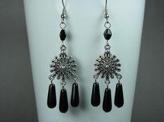 Gypsy Jewelry Bohemian Earrings Black by AdornmentsbyDebbie, $14.00
