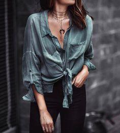 $20 - $70 Teal Green Blue Silk Satin Rolled Up V-Neck Button Detail Blouse Shirt Plain Black Denim Jeans Boho Chic Gold Jewellery Street Style Tumblr