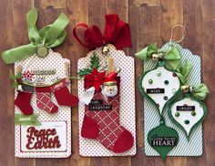 Creative Mayhem: Christmas Tags and ATCs the Scrapmatts Way Christmas Paper Crafts, Noel Christmas, Christmas Gift Wrapping, Christmas Projects, All Things Christmas, Handmade Christmas, Christmas Scrapbook, Diy Christmas Tags, Christmas Stockings