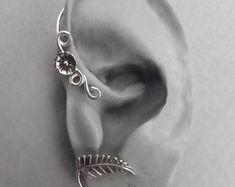 Sterling Flower and Leaf Ear Wrap - SPRING - Silver Ear Cuff Wrap