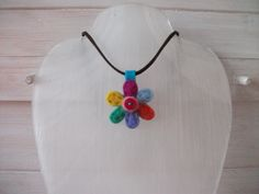 Needle Felted Flower Pendant with a soft cord necklace.  £8.50 plus p&p