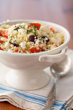 just made this with quinoa instead of couscous and cucumbers instead of olives and its cravable good!  Made quinoa with chicken broth instead of water and added some garlic