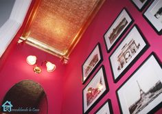 She used paintable wallpaper and topped it off with  gold leaf which also was used on the crown molding. Love it!!
