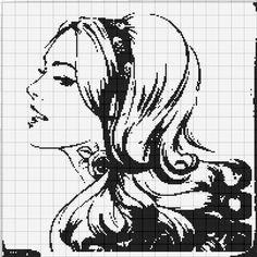 x point de croix monochrome fille - cross stitch woman's portrait