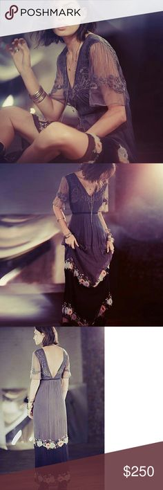 FREE PEOPLE MIDNIGHT IN THE GARDEN DRESS This smoky and sheer maxi evokes feelings of wandering a dewy twilight. Graphite and black colorblock chiffon skirt features whimsical garden embroidery and pastel mesh flowers. Monochromatic grey floral embroidery on graphite colored mesh bodice. Flutter sleeves, V-Neck, and plunging V in back.  *Bodice: 100% Nylon *Skirt: 100% Rayon *Dry Clean Free People Dresses Maxi