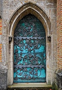 Gothic Door With Iron Mounting At The Neo-Gothic St. Ottilien Archabbey,near Landsberg,Bavaria,Germany,Europe