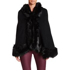 Just Jamie Faux Fur Ruana (80 CAD) ❤ liked on Polyvore featuring outerwear, black, faux fur trim cape, faux fur cape coat, cape coat, fake fur cape and faux fur cape