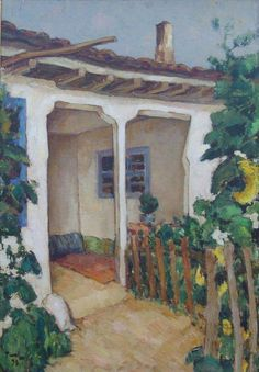 "Nicolae Tonitza - - ""House in Dobrogea"" Post Impressionism, Impressionist, Scenery Paintings, Cottage Art, Art And Illustration, Illustrations, French Art, Vincent Van Gogh, Painting Inspiration"