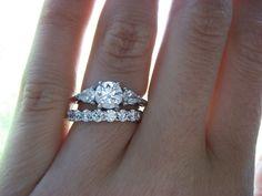 14K WHITE GOLD THREE STONE DIAMOND 3PCS ENGAGEMENT RING WEDDING BAND BRIDAL SET #br925silverczjewelry