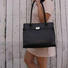 44ee400b95 Veľké čierne kožené kabelky cez plece do práce Talianske čierne Debora