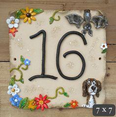 House Number Tile Custom Ceramic and Hand by BlueFishStudiosShop