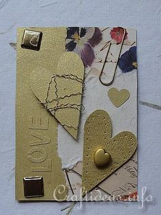ATC - Artist Trading Cards - Love ATC Using Gold and Natural Colored Papers   ...  something to think about ....  hhhhhhhmmmmm   ....  j