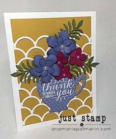 Stampin' Up! Botanical Blooms Thank You | Just Stamp | Botanical Builder Framelits | Hand Made Thank You Card