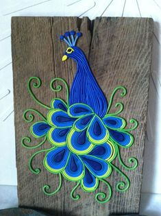 """Peacock Wall Art """"Essence of Elegance"""", polymer clay filigree mosaic wall art on aged barn wood by HipEarthDesigns Polymer Clay Kunst, Polymer Clay Projects, Polymer Clay Creations, Clay Crafts, Arts And Crafts, Paper Crafts, Peacock Wall Art, Mosaic Wall Art, Peacock Drawing"""