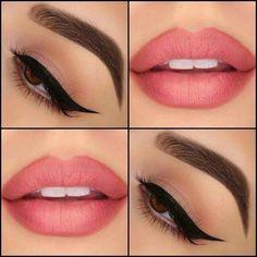 Soft makeup, lips and eyes - Prom Makeup For Brown Eyes Eyeliner, Eyeshadow Makeup, Lip Makeup, Beauty Makeup, Makeup Trends, Makeup Inspo, Makeup Inspiration, Beautiful Eye Makeup, Perfect Makeup