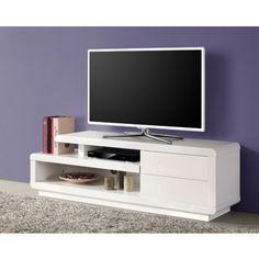 Meuble TV bas design blanc laqué à 2 tiroirs