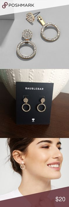 "BaulbleBar Champagne Hoop Ear Jackets Earrings Festive hoop sparklers have a fizzy effect.  Zinc casting, glass stones, surgical steel posts. Shiny gold plating. Post back closure. Back: length: 1"", width: 0.65""; Front: length: 0.3"". Barely there weight 0.05 oz. BaubleBar Jewelry Earrings"