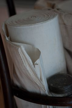 Antique rolls of hemp & linen from Italy  photo Heather Ross