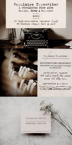 Populaire Typewriter font and extras is a retro design pack with typewriter fonts, paper textures and Photoshop stamp brushes, all sourced from real vintage materials. Use this set in any designs that needs a vintage touch. Use it in long or short texts, in digital collages, branding and packaging, social media posts, logotypes, etc. #typewriter #font #textures #stamps Retro Design, Web Design, Graphic Design, Typewriter Fonts, Brush Font, Vintage Stamps, Photoshop Brushes, Digital Collage, Cool Artwork