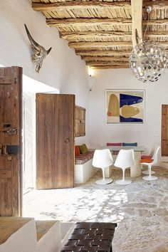 Central living space in typical authentic finca with modern furniture  Finca Lavanda