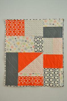 Orange & Grey Quilt Modern. Like how it is asymmetrical