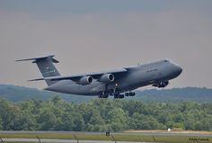 C-5 Galaxy from Dover AFB doing touch and goes at Westover ARB, Mass.