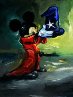"""Here's Your Hat"" by Jim Salvati - Limited Edition of 195 on Hand-Embellished Canvas, 16x12.  #Disney #MickeyMouse #Fantasia #DisneyFineArt #JimSalvati"