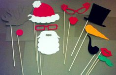 12 Piece Christmas Photobooth Prop Set Santa Frosty by PartyHQ, $8.00