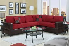 AmazonSmile: 2 Piece Classic Large Microfiber and Faux Leather Sectional Sofa…