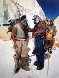 liketheopensea:Alfred Gregory, Hillary & Tenzing Preparing for the Summit, Everest, 1953 See, what gets me, is he's wearing a knitted vest and he's wearing a plaid flannel shirt. A cap and tie-on-frame backpacks. Lace-up gators and run-of-the-mill ropes.And we sit here today convinced we'll die of the cold if we don't have an Arcteryx coat, and we nobelly conquer the wilderness, dry and toasty in our Gortex bubbles, and hell man, we've got nothing on them.