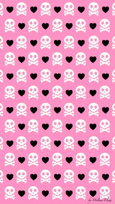 Pink girly skull/cross bone and hearts Wallpaper
