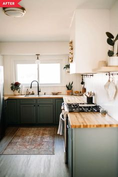 A farmhouse-style DIY kitchen redo featuring shiplap, wood counters, and green cabinets. Diy Kitchen Remodel, Kitchen Redo, Kitchen On A Budget, New Kitchen, Kitchen Dining, Kitchen Ideas, Budget Kitchen Makeovers, Modern Kitchen Diy, Kitchen Renovation Diy