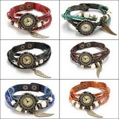 Wholesale Flower Dial Weave Leather Wings Beaded Quartz Bracelet Wrist Watch