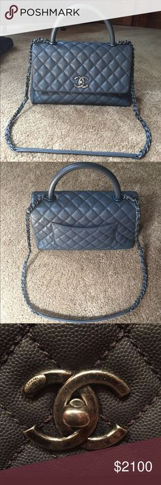 auth chanel coco caviar kelly grey flap bag 4100 like new 100 authentic chanel