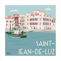 Et si on passait par #saintjeandeluz ? #paysbasque #illustration #yipikaii #yipikaiiillustration #sea #mer #bateau #boat #maisondelinfante