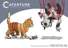 Haha! Cute. I imagine the personality cores are dogs, lol. This also makes GLaDOS' fear of birds pretty ironic.
