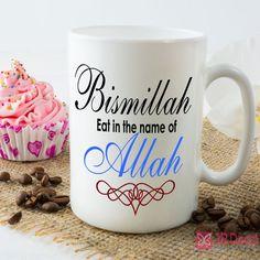 Ceramic Mug colourful Printed on Bismillah eat in the name of Allah. Islamic mug Morning coffee mug Muslim gift Quote printed mug. Novelty eid gift for muslim. Ramadan Photos, Allah, Name Wall Stickers, Initial Wall, Novelty Mugs, Mug Printing, Islamic Gifts, Gift Quotes, Mug Designs