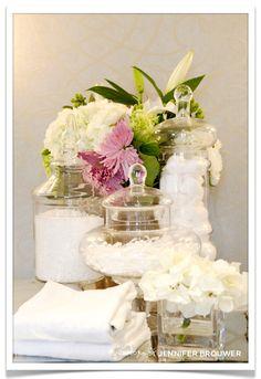 Definitely A Must Do In Baths: Put Florals And Greens :D #Bathroom #.  Accessories DisplaySpa AccessoriesBathroom ...