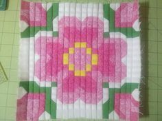 Sample block of the Primrose (pattern by Pam Bono).  I tweeked the pattern a bit using a technique by Eleanor Burns.