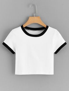 Shop Contrast Ringer Crop Tee at ROMWE, discover more fashion styles online. Teen Fashion Outfits, Girl Outfits, Summer Outfits, Tween Fashion, Girl Fashion, Crop Top Hoodie, Crop Tee, Cute Comfy Outfits, Stylish Outfits