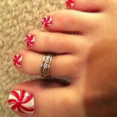 Christmas Style, DIY Nails, Candy Cane, Cute Toes, Christmas, Christmas, Candy Cane, DIY, Toes, Nails