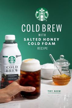 In this refreshing twist on cold brew, the sweetness of homemade honey syrup combines with a pinch of savory salt for a uniquely delicious coffee that still feels distinctly Starbucks. Cold Brew Coffee Concentrate, Honey Syrup, Starbucks Drinks, Coffee Drinks, Coffee Recipes, Chocolate, Vegetable Dishes, Brewing, Cravings