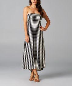 Navy Stripe Strapless Hi-Low Dress by Breakfast in Bed #zulily #zulilyfinds